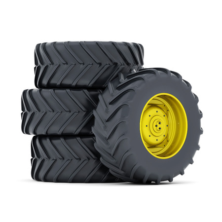 Tractor tires isolated on white background Standard-Bild