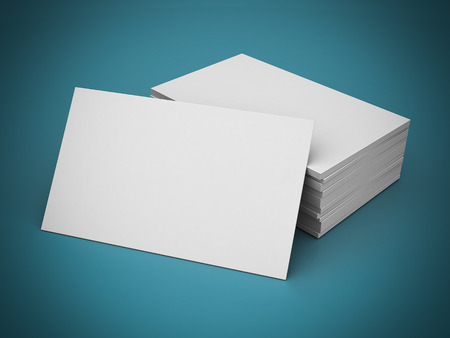 contact sheet: Business cards blank mockup - template - blue background