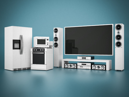 picture of household appliances on a blue background