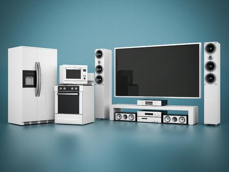 Bild von Haushaltsgeräten auf einem blauen Hintergrund