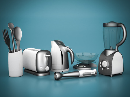 percolator: picture of household appliances on a blue background
