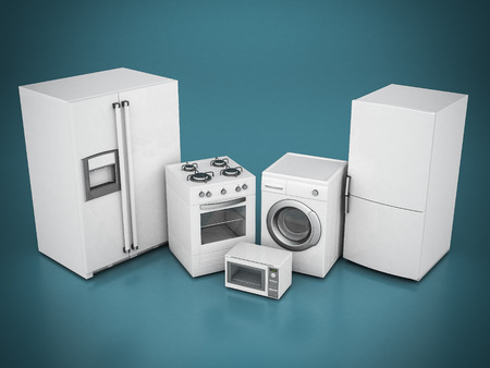 household appliances: picture of household appliances on a blue background