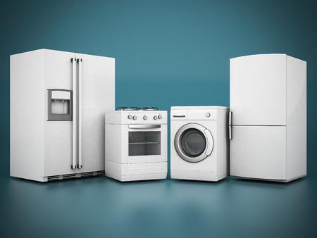 青色の背景に家電製品の画像 写真素材