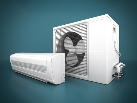 in the air: Image of modern air conditioner on a blue background