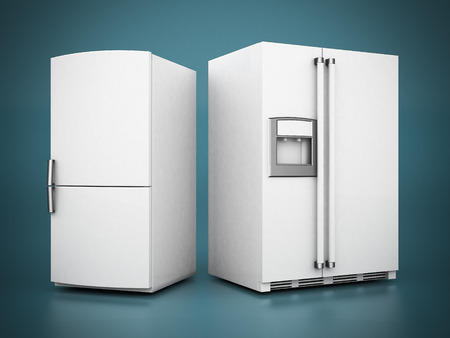 Picture a beautiful refrigerator on a blue background Stock Photo
