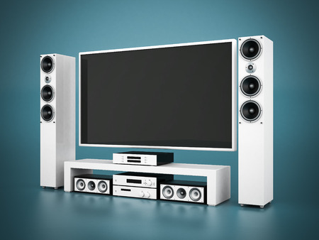 modern home theater on a blue background