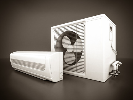 Image of modern air conditioner on a gray background. black and white