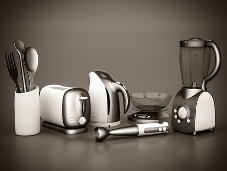 home cooking: picture of household appliances on a gray background. black and white Stock Photo