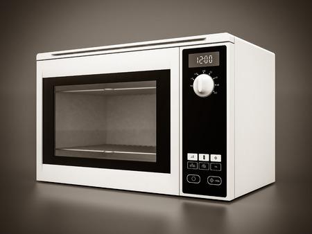 microondas: Imagen del horno de microondas sobre un fondo gris