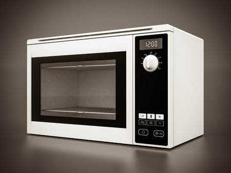Image of the microwave oven on a gray background Archivio Fotografico