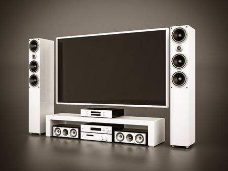 flatscreen: modern home theater on a gray background. black and white