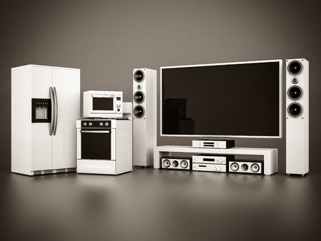 picture of household appliances on a gray background. black and white Standard-Bild