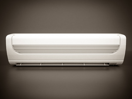 ionizer: Image of modern air conditioner on a gray background. black and white