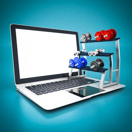 white laptop: manubri fitness e computer portatile bianco su sfondo blu Archivio Fotografico