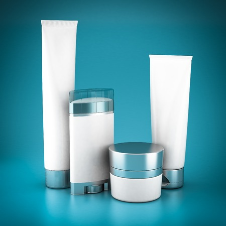 medical shower: Set of cosmetics on a blue background