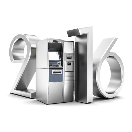 cashpoint: image of the new ATM on white background Stock Photo