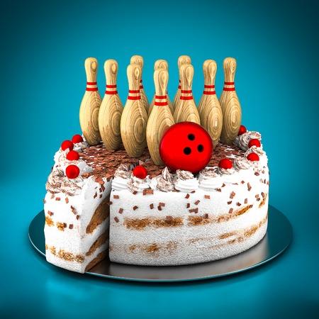 bolos: Bolos para el bowling y pastel sobre un fondo azul