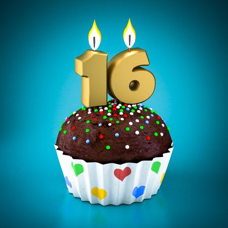 sixteen: Birthday cupcake on a blue background Stock Photo