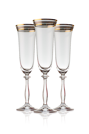 crystal glass: crystal wine glass for champagne on a white background