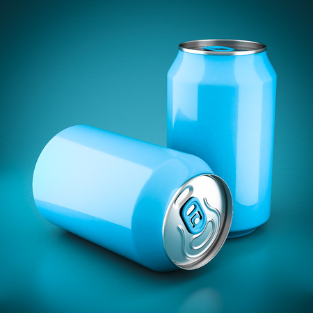 aluminum cans: Aluminum cans on a beautiful blue background