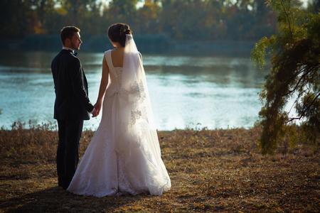 wedding photography: wedding photography is very beautiful couple on blurred background Stock Photo