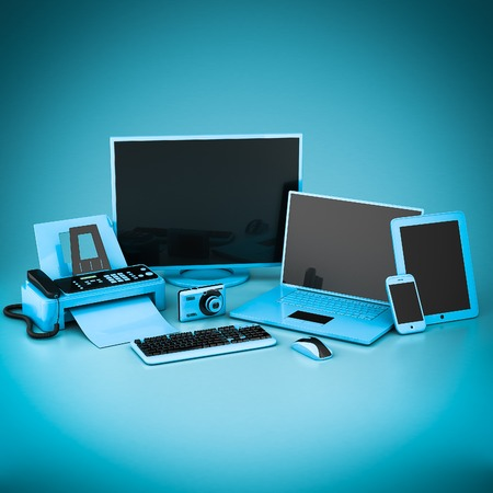 hp: Laptop, Tablet PC and Smartphone on a blue background
