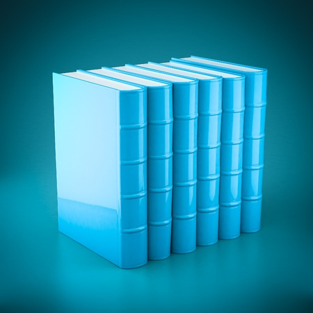 new books: Stack of new books on a blue background