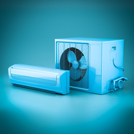 ionizer: Image of modern air conditioner on a blue background