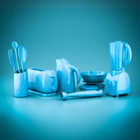 Photo de ménage sur fond bleu