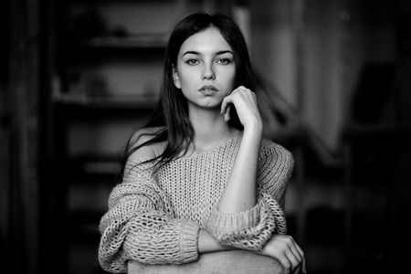 feminine: Portrait shot of a very beautiful girl. Black and white