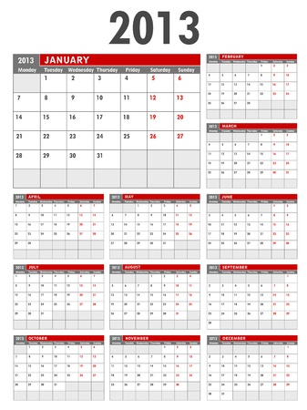 2013 Calendar Business Template Starts on Monday Vector