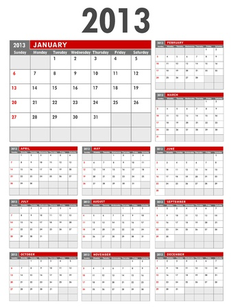 2013 Calendar Business Template Starts on Sunday Stock Vector - 15704927
