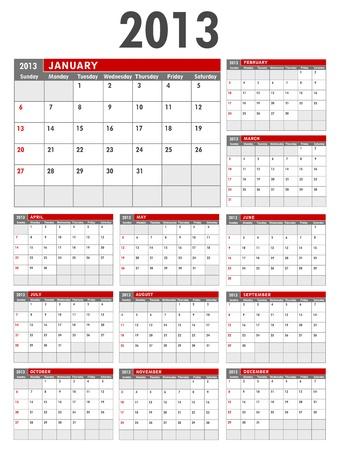 2013 modello di calendario Business inizia Domenica