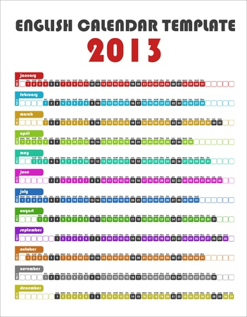 2013 Colorful English Calendar Template
