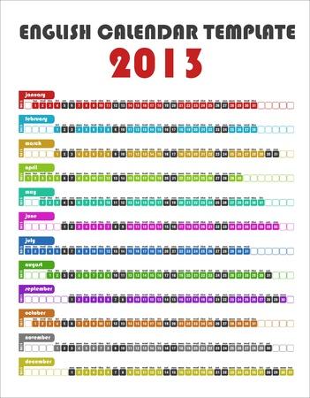 2013 Template Colorful Calendario Italiano