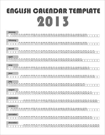 2013 Uncolored English Calendar Template Stock Vector - 15704933