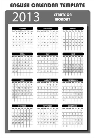 2013 Calendar Template inglese Inizia il Lunedi