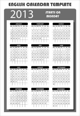 2013 English Calendar Template Starts on Monday Stock Vector - 15704924