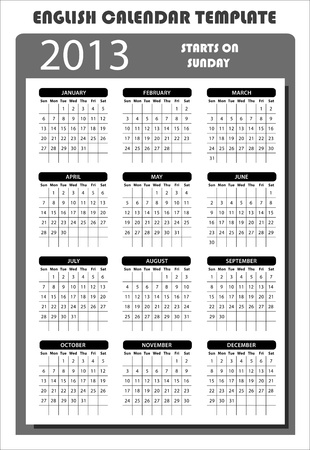 2013 English Calendar Template Starts on Sunday Stock Vector - 15704922
