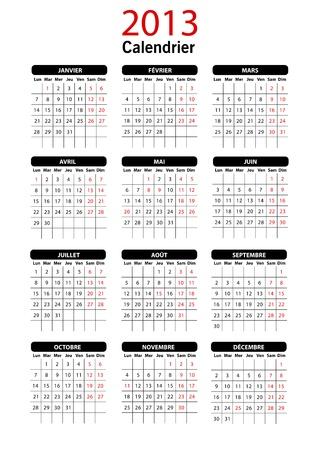 2013 Calendar Template francese