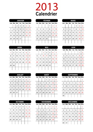 2013 French Calendar Template
