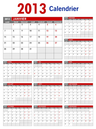 2013 French Business Calendar Template Vector