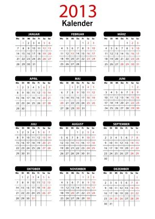 2013 Calendar Template tedesco Vettoriali