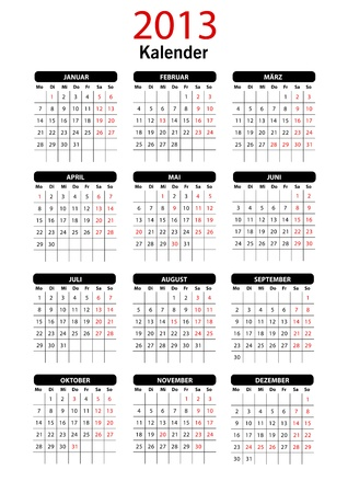 2013 German Calendar Template Vector