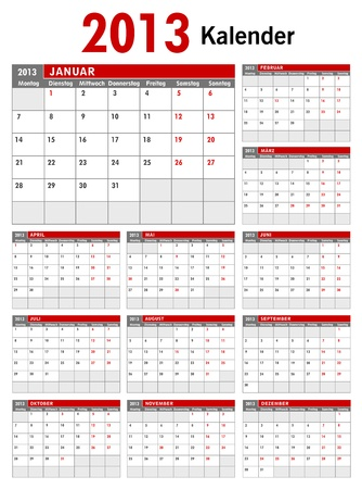 2013 German Business Calendar Template Vector