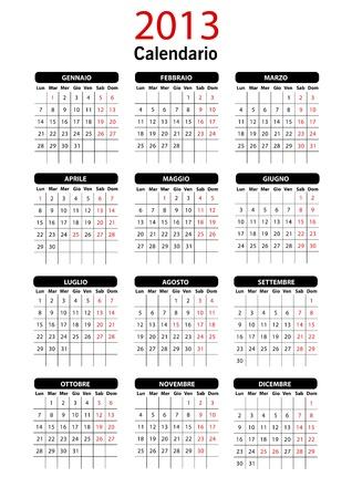 2013 Italian Calendar Template Stock Vector - 15704919