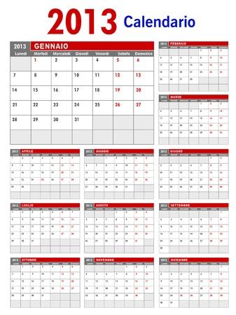 2013 Affari Italiani Calendar Template Vettoriali