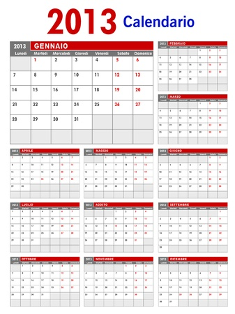 2013 Italian Business Calendar Template Stock Vector - 15704926
