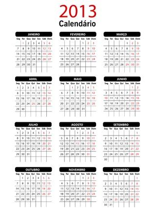 2013 il Portogallo Calendar Template