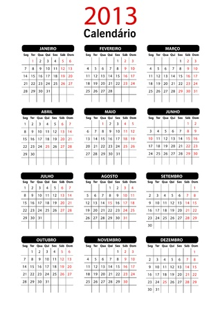 2013 Portugal Calendar Template Stock Vector - 15704920